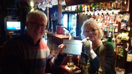 Gill Walkes receives her fund raising certificate from Martin Wilkes of South Northants REsponders